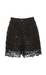 Monique Lhuillier Sequin Guipure Lace Shorts Black