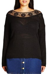 City Chic Plus Size Women's Crochet Lace Trim Sweater