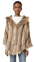 Adrienne Landau Hooded Fur Poncho Multi