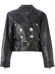 Versace Vintage Belted Leather Jacket Black