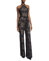 Alexis Rene Halter Neck Lace Jumpsuit Black