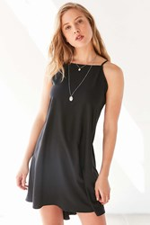 Silence And Noise Silence Noise Straight Neck High Low Mini Dress Black