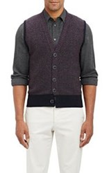 Inis Meain Moss Stitched Cardigan Vest Purple