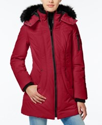 Wildflower Faux Fur Trim Hooded Puffer Coat Only At Macy's Red