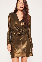 Missguided Metallic Wrap Long Sleeve Mini Dress