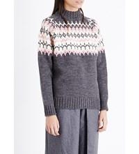 Anddaughter Fairisle Wool Jumper Greypink
