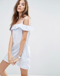 Pull And Bear Pullandbear Off The Shoulder Strappy Dress Sky Blue
