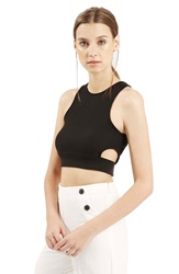 Topshop Ribbed Crop Tank Black