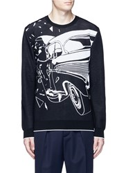 Christopher Kane 'Car Crash' Jacquard Sweater Black White