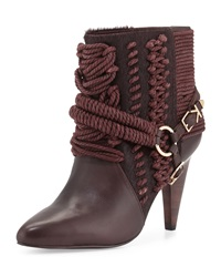Ivy Kirzhner Chile Leather Rope Calf Hair Bootie Oxblood