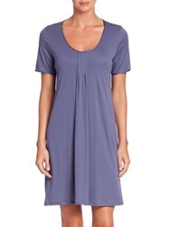 Hanro Alessia Short Sleeve Gown Cosy Blue