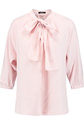 Raoul Fiorella Pussy Bow Washed Silk Blouse Baby Pink