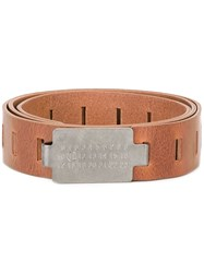 Maison Martin Margiela Cut Out Detail Belt Brown