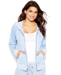 Lucky Brand Zipper Front Burnout Hoodied Colony Blue