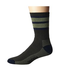 Smartwool Stripe Hike Medium Crew Forest Men's Crew Cut Socks Shoes Green
