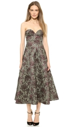 Rochas Strapless Jacquard Dress Grey Beige