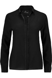 7 For All Mankind Picot Trimmed Silk Crepe De Chine Shirt Black