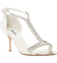 Dune Melodee Jewelled T Bar Leather Sandals White Leather