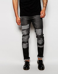 Cheap Monday Jeans Tight Skinny Fit Innocence Black Extreme Distress Repair Strobe