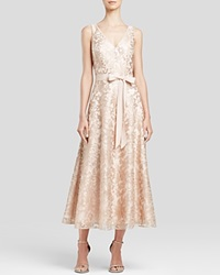 Aidan Mattox Sleeveless V Neck Sequin Lace Flare Skirt Midi Dress Champagne