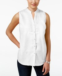 Charter Club Petite Linen Sleeveless Shirt Only At Macy's Bright White