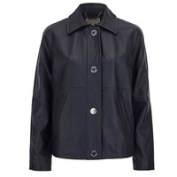 Michael Michael Kors Women's Cropped Leather Trench Coat New Navy Blue