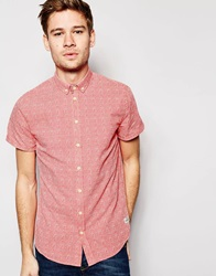 Blend Of America Blend Shirt Short Sleeve Button Down All Over Print Sunkistcoralred