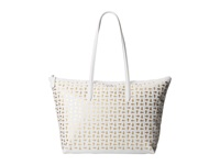 Lacoste L.12.12 Metallic Concept Corc Horizontal Tote Bag White Gold Tote Handbags