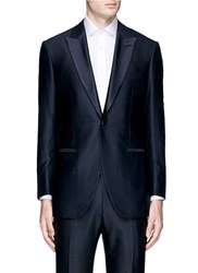 Tomorrowland Silk Satin Lapel Wool Soft Tuxedo Blazer Blue
