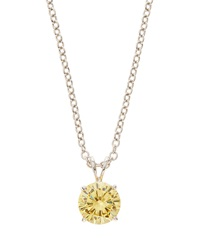 Fantasia Canary Yellow Cz Round Pendant Necklace