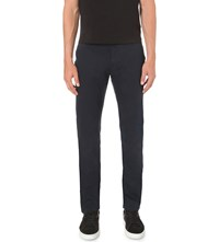Armani Jeans Regular Fit Tapered Stretch Cotton Chinos Blue