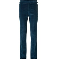 Kingsman Slim Fit Cotton And Cashmere Blend Corduroy Trousers Petrol