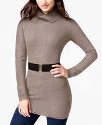 Amy Byer Bcx Juniors' Belted Mixed Knit Sweater Dress Taupe