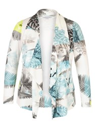 Chesca Fern And Floral Print Jersey Shrug White