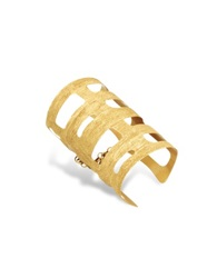 Stefano Patriarchi Golden Silver Etched Cut Out Medium Cuff Bracelet