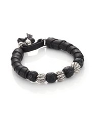 King Baby Studio Wrap Leather And Sterling Silver Bracelet Black