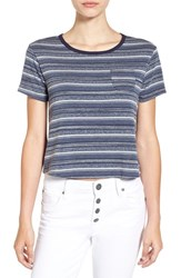 Ten Sixty Sherman Women's Short Sleeve Stripe Ringer Tee Navy