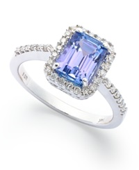 Macy's 14K White Gold Ring Tanzanite 1 1 2 Ct. T.W. And Emerald Cut Diamond 1 4 Ct. T.W. Ring