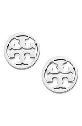 Women's Tory Burch Circle Logo Stud Earrings Silver
