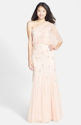 Women's Adrianna Papell Beaded One Shoulder Blouson Gown