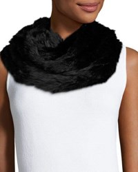 Jocelyn Rabbit Fur Infinity Scarf Black