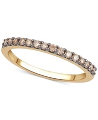 Macy's Black Or Brown Diamond Band 1 4 Ct. T.W. In 14K White Rose Or Yellow Gold