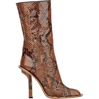 Snakeskin Mid Calf Boots 00M46 Grey Brown