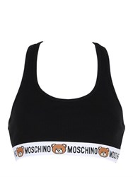 Moschino Teddy Bear Logo Rib Cotton Crop Top