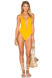 Indah Rainey Lace Up One Piece Yellow