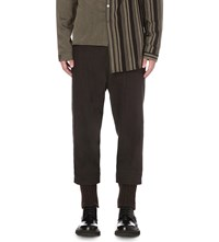 Isabel Benenato Relaxed Fit Tapered Linen And Virgin Wool Trousers Darkwood