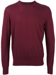 Z Zegna Crew Neck Fine Knit Sweatshirt Red