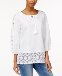 Charter Club Petite Linen Crochet Trim Peasant Blouse Only At Macy's Bright White