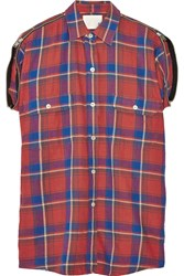 R 13 Plaid Cotton Flannel Shirt Red