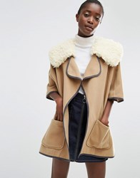Asos Cape With Borg Faux Fur Collar Brown